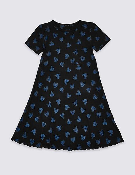 Heart Print A-Line Dress (3-16 Years)