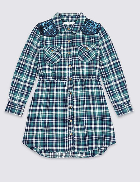 Checked Pure Cotton Shirt Dress (3-14 Years)