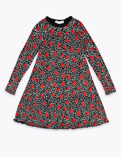 Heart & Animal Print Fit And Flare Dress (3-16 Years)