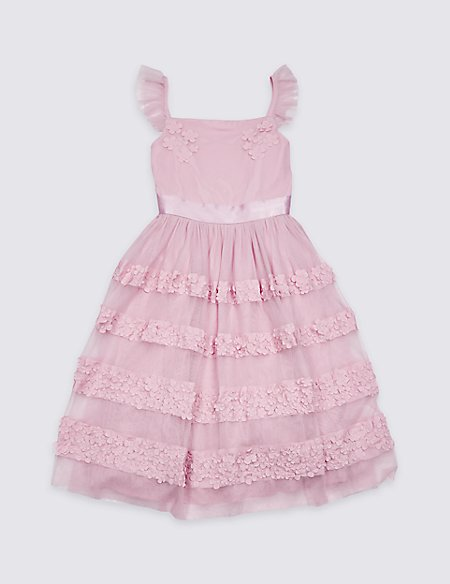 Applique Floral Tiered Dress (3-16 Years)