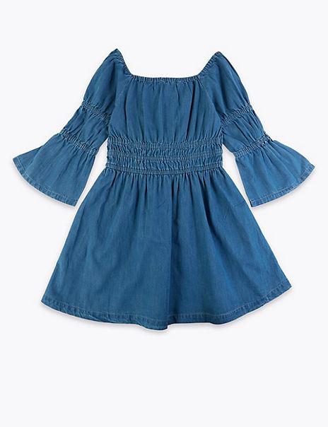 Denim Shirred Dress (6 -16 Years)