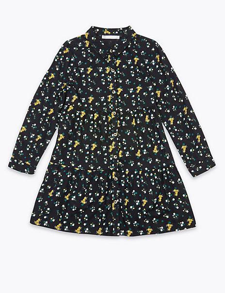 Ditsy Print Tiered Shirt Dress (6-16 Years)