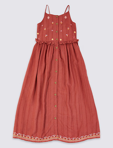 Embroidered Berry Dress (3-16 Years)