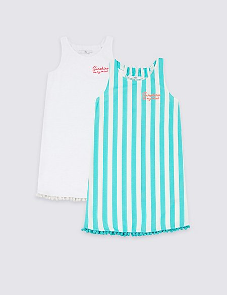 2 Pack Pure Cotton Dress (3-16 Years)