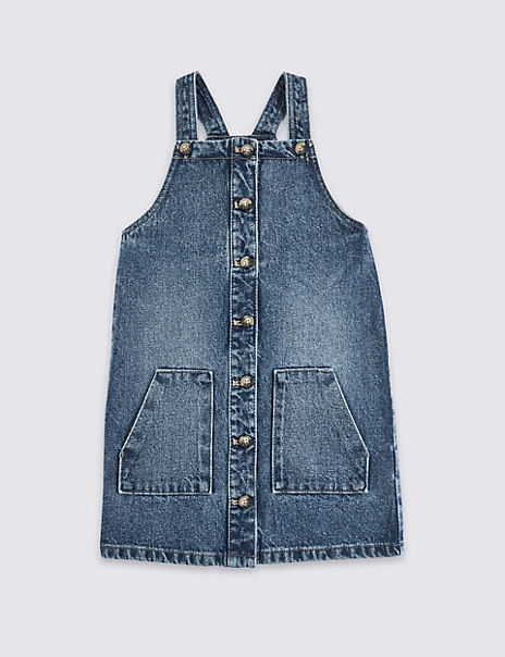 Pure Cotton Denim Button Through Pinafore Dress (3-16 Years)