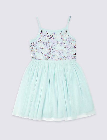 Embroidered Pleated Dress (3-16 Years)