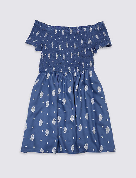 Shirred Floral Print Dress (3-16 Years)