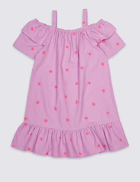 Embroidered Pure Cotton Dress (3-16 Years)