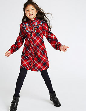 Pure Cotton Checked Shirt Dress (3-16 Years)
