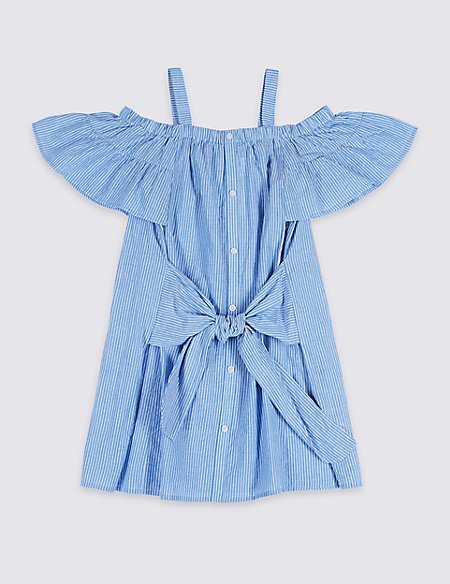 Striped Pure Cotton Dress (3-16 Years)