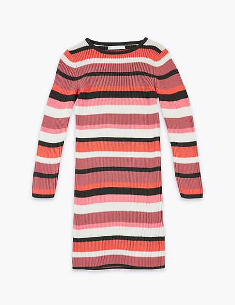 Striped Knitted Dress (6-16 Years)