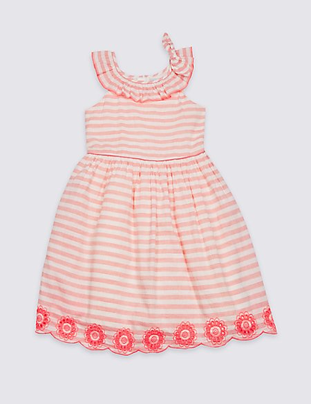 Striped Bow Shoulder Dress (3-16 Years)