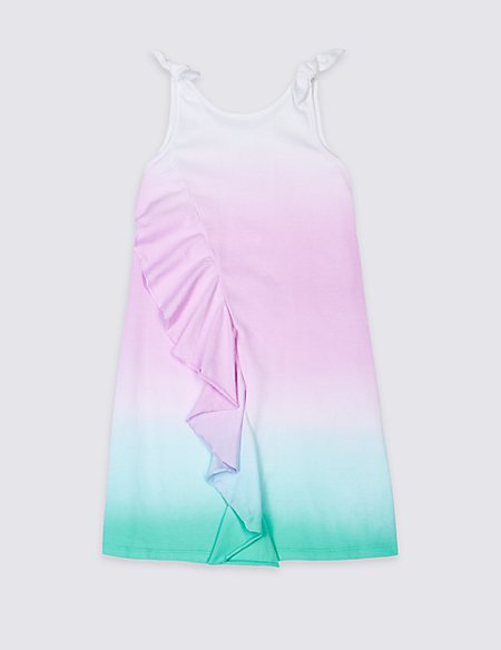 Pure Cotton Ruffle Ombre Dress (3-16 Years)