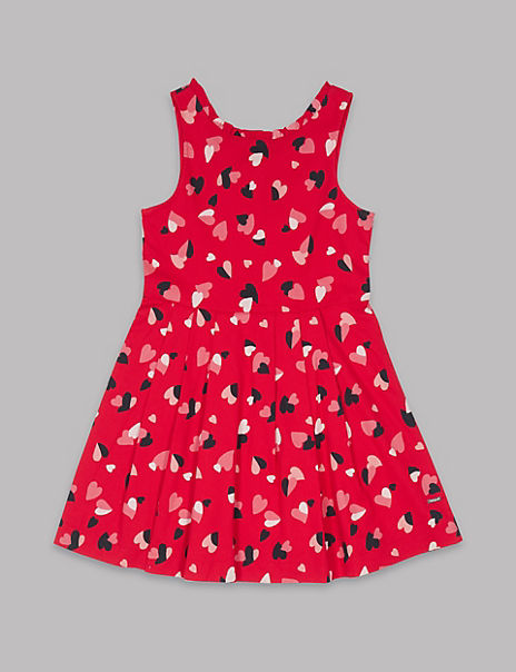 All Over Heart Print Dress (3-16 Years)