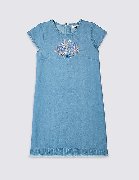 Shell Sequin Denim Dress (3-16 Years)