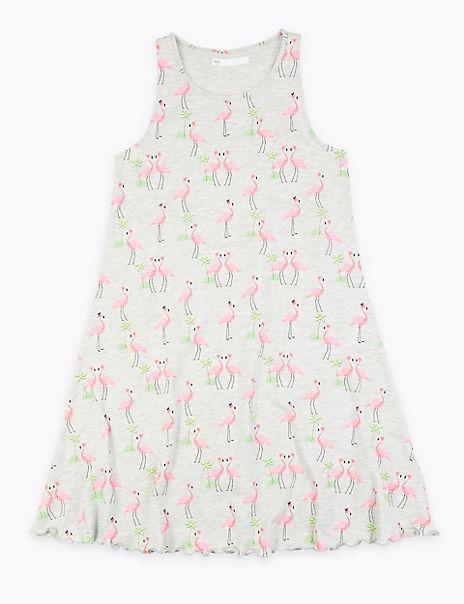 Cotton Rich Flamingo Print Dress (6-16 Years)
