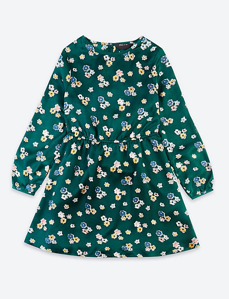 Satin Floral Dress (3-16 Years)