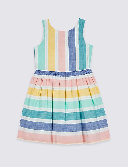 Striped Bow Back Dress (3-16 Years)