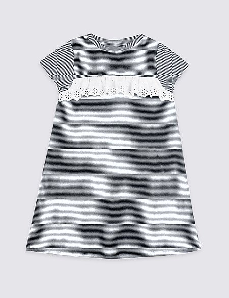 Broderie Striped Dress (3-16 Years)