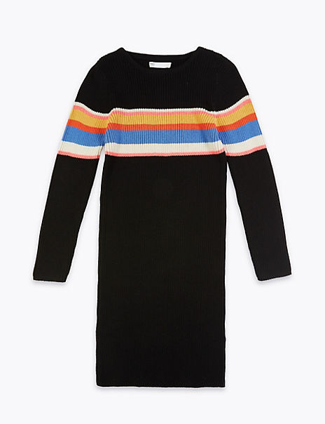 Cotton Knitted Striped Dress (6-16 Years)