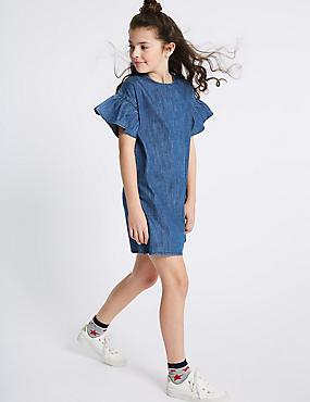 Denim Flared Sleeve Dress (3-16 Years)
