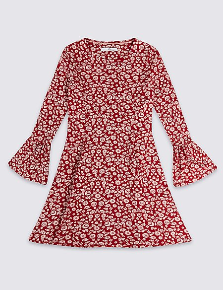 Printed Dress with Fluted Sleeves (3-16 Years)