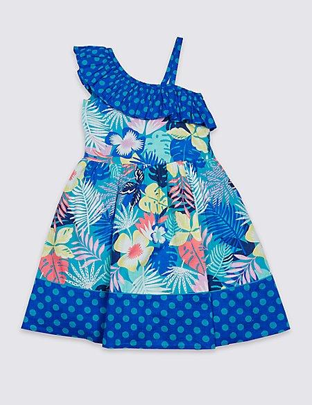 Foliage Print Dress (3-16 Years)