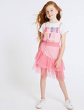 Slogan Mesh Dress & Top (3-16 Years)