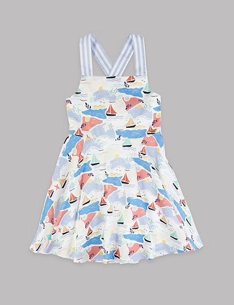 Pure Cotton Sail Boat Print Dress (3-16 Years)