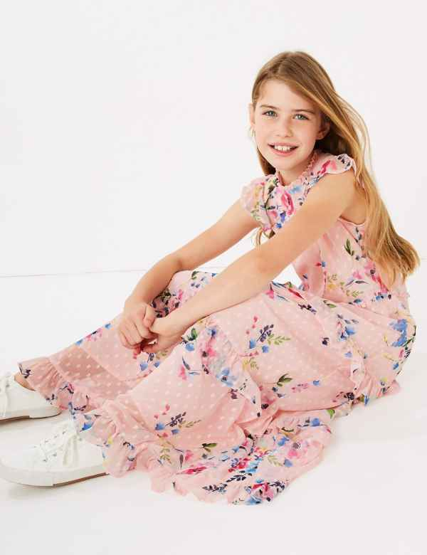 clp60436841: Floral Print Maxi Dress (6-16 Yrs)