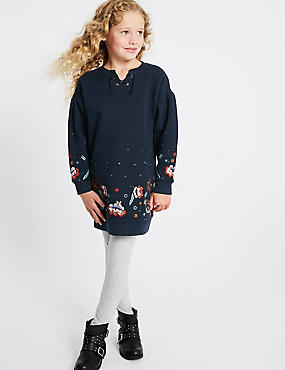 Embroidered Cotton Rich Dress (3-16 Years)