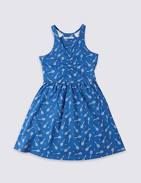 Printed Dress with Stretch (3-14 Years)