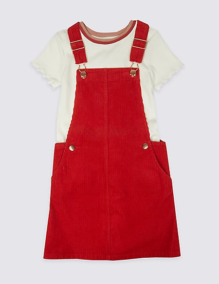Cord Pinafore with T-Shirt (3-16 Years)