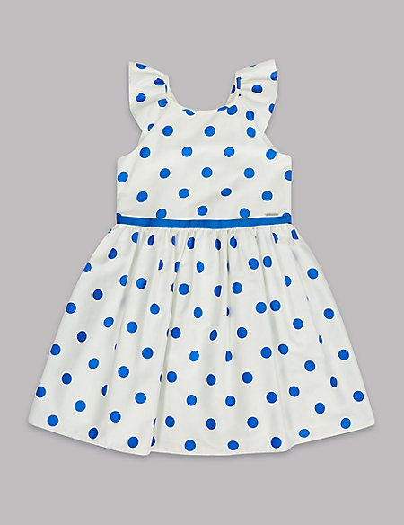 Spotted Pure Cotton Dress (3-16 Years)