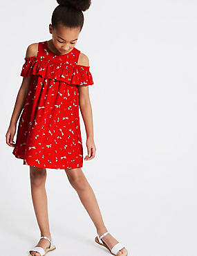 All Over Print Ruffle Dress (3-16 Years)