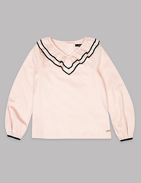 Pure Cotton Frill Neck Top (3-16 Years)