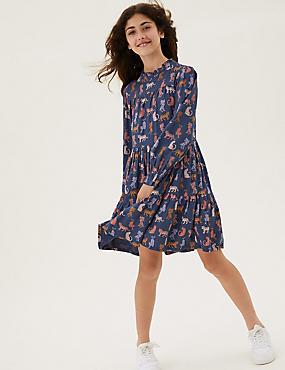 Leopard Print Tiered Dress (6-16 Yrs)