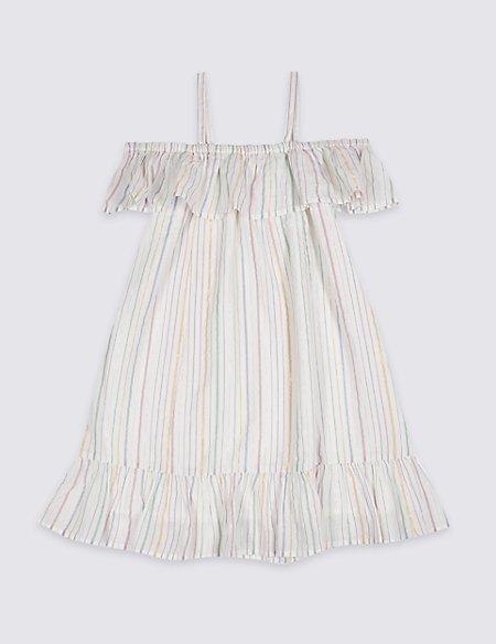 Striped Bardot Dress (3-16 Years)