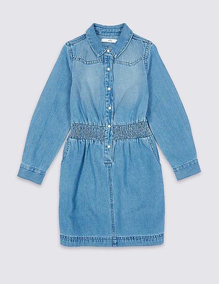 Pure Cotton Shirt Dress (3-16 Years)