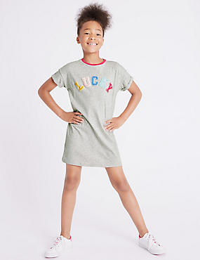Cotton T-Shirt Dress with Stretch (3-16 Years)