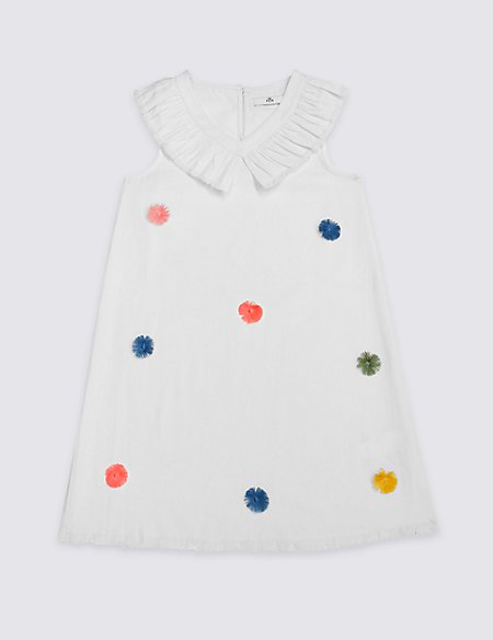 Pom-pom Pure Cotton Shift Dress (3-16 Years)
