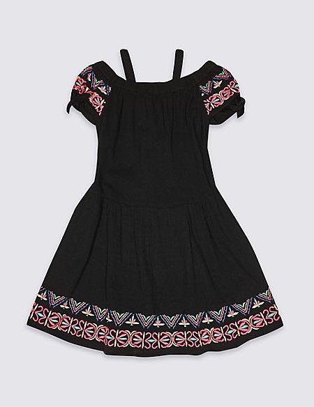 Pom-pom Pure Cotton Dress (3-16 Years)