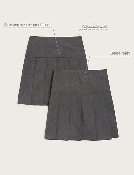 2 Pack Girls' Crease Resistant Pleated Skirts