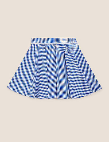 Girls' Pure Cotton Gingham Skater Skirt