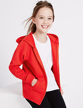 Girls' Hooded Sweatshirt, RED, catlanding