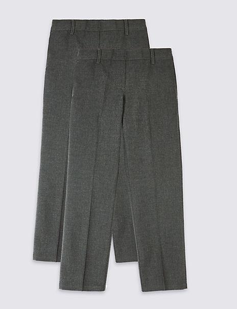 2 Pack Girls' Easy Dressing Trousers