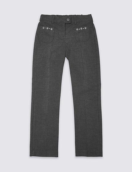 Girls' Regular Leg Embroidered Trousers