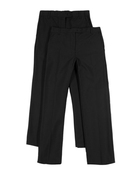 2 Pack Girl's Crease-Resistant Bootleg Trousers with Triple Action Stormwear™