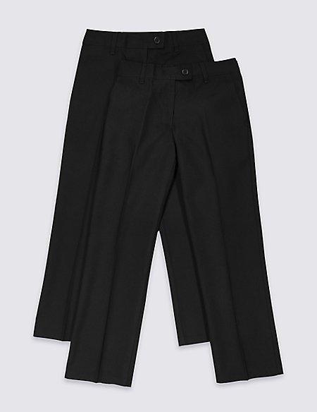 2 Pack Girls' Regular Leg Trousers