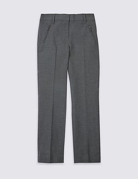 Girls Slim Fit Zip Pocket Trousers